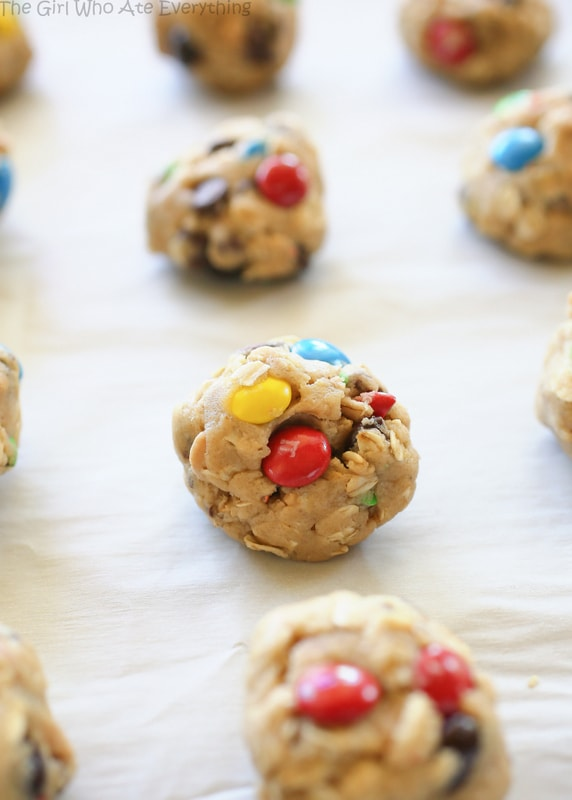 monster cookie dough ball on a baking sheet