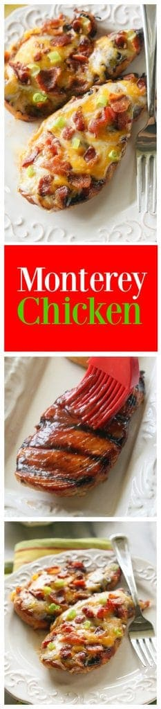Monterey Chicken - topped with bbq sauce, bacon, and green onions. Has so much flavor and is such an easy dinner. #grilled #monterey #chicken #dinner #recipe #bacon #cheese