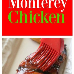 Monterey Chicken - topped with bbq sauce, bacon, and green onions. Has so much flavor and is such an easy dinner.