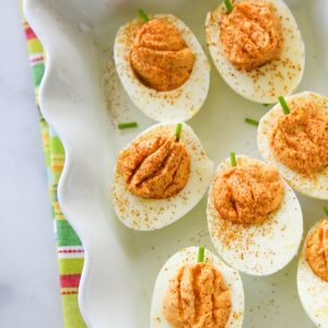 Roasted Red Pepper Deviled Eggs | The Girl Who Ate Everything