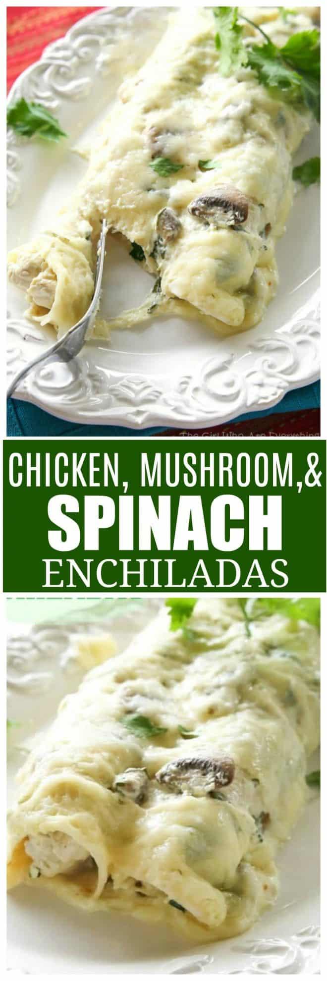 Chicken, Spinach, and Mushroom Enchiladas