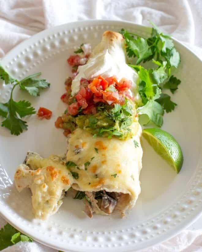 Mushroom, Spinach, and Chicken Enchiladas