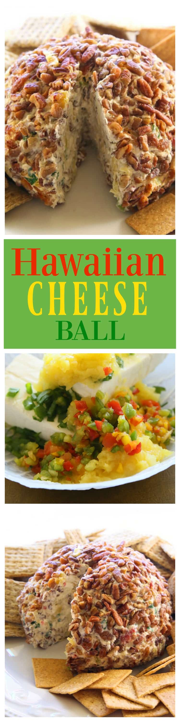 Hawaiian Cheese Ball - a cream cheese ball with crushed pineapple, green onions, and bell pepper. This is such a crowd pleaser. #hawaiian #cheese #ball #appetizer #recipe