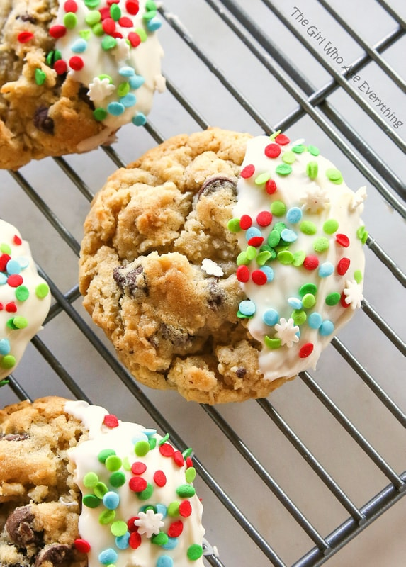 These bakery style cookies are full of chocolate chips and coconut. They have a crisp outside with a soft and chewy inside. the-girl-who-ate-everything.com