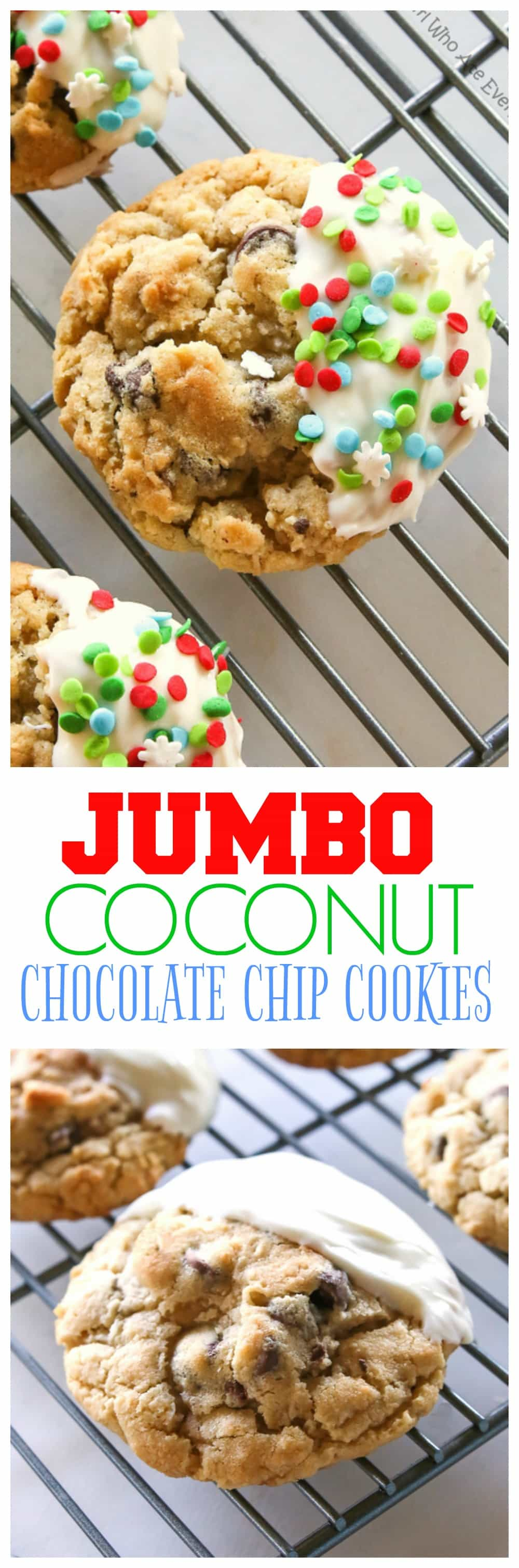 Jumbo Chocolate Chip Cookies - These bakery style cookies are full of chocolate chips and coconut. They have a crisp outside with a soft and chewy inside. #jumbo #coconut #chocolate #chip #cookies