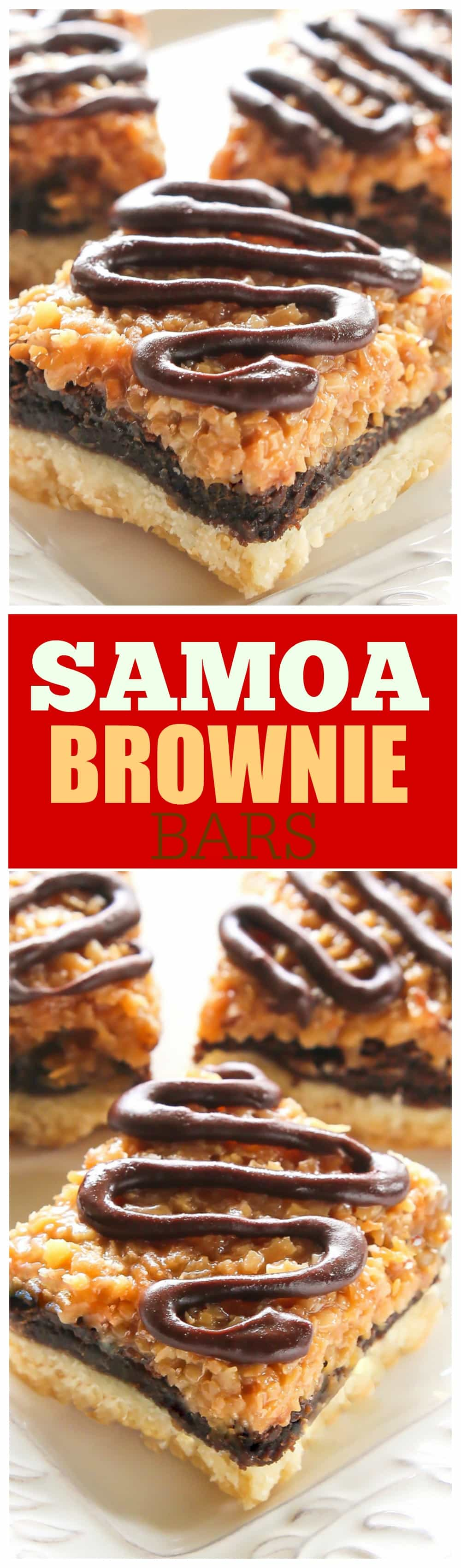 Samoa Brownie Bars - A shortbread crust topped with a brownie layer and caramel coconut inspired by the girl scout cookie. #samoa #brownies #coconut #dessert #recipe