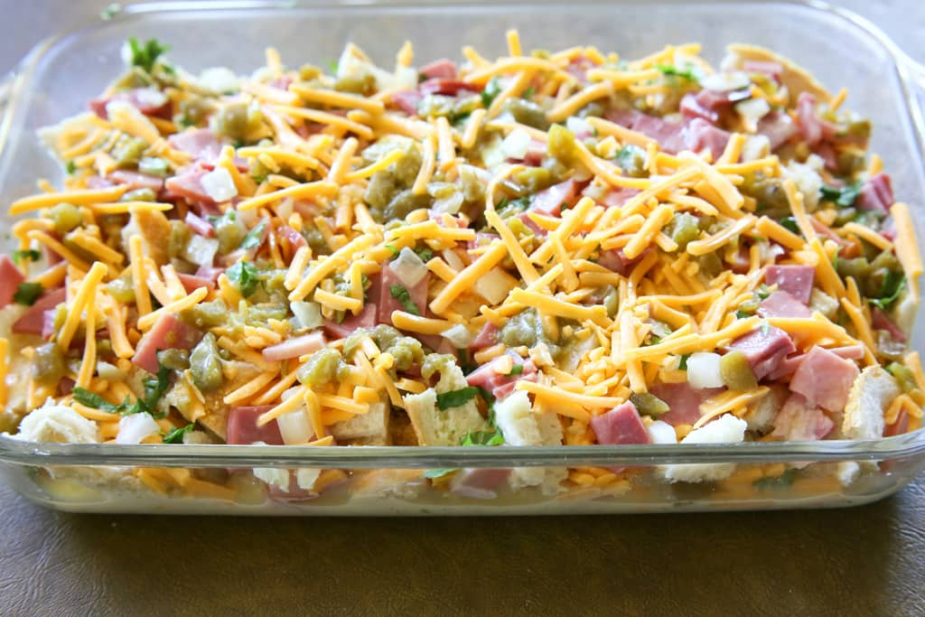 Chili and Ham Breakfast Strata - layered with sourdough, cheddar and ham. This is great for breakfast, brunch, or even dinner.