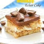 Chunky Monkey Eclair Cake - An easy no-bake dessert with layers of graham crackers, peanut butter filling, and bananas. All topped with a sweet homemade chocolate frosting. the-girl-who-ate-everything.com