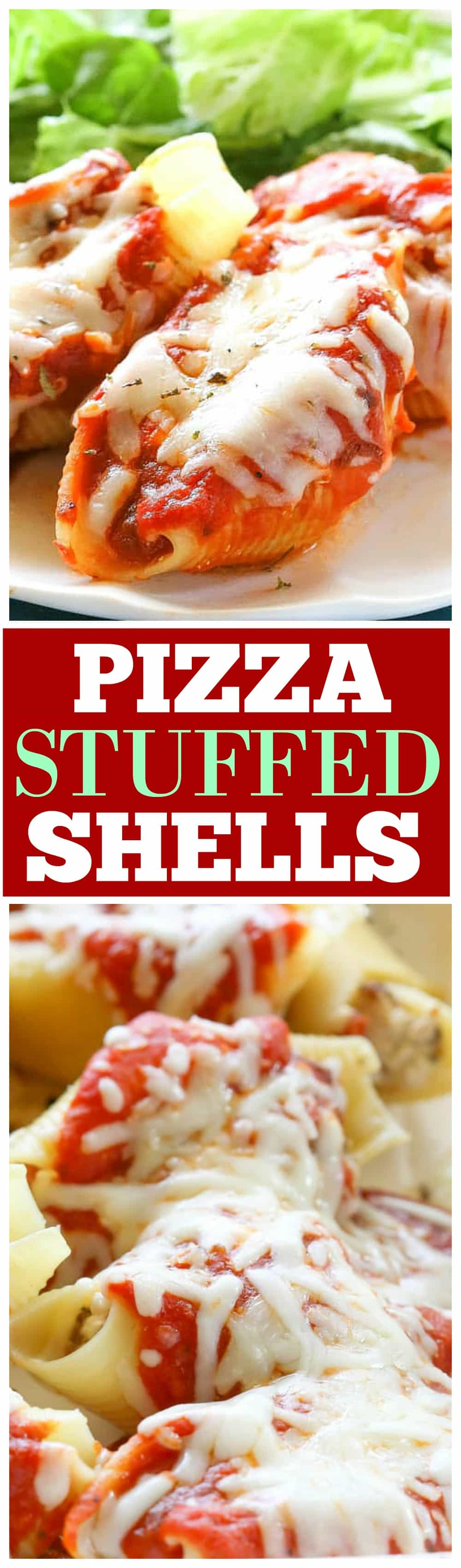 These Pizza Stuffed Shells are jumbo pasta shells stuffed with sausage, pepperoni, and cheese. Put your favorite toppings in! They can be made ahead and frozen for later. These are a total crowd pleaser. #pizza #stuffed #shells #recipe #italian #casseroles
