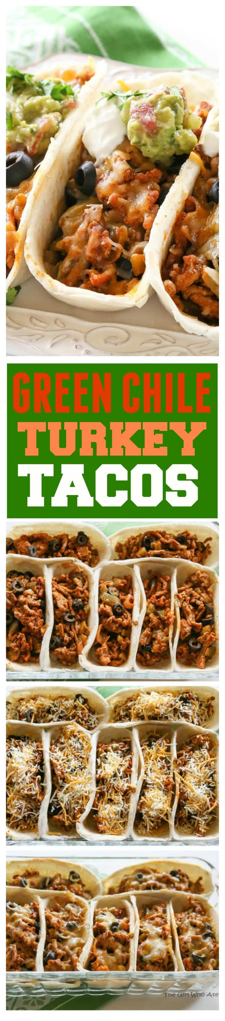 These Green Chile Turkey Tacos are packed with flavor and so easy. Green chilies and olives are added to the meat mixture. Even non-turkey lovers won't complain about these tasty tacos. #turkey #tacos #mexican #dinner #recipe #healthy