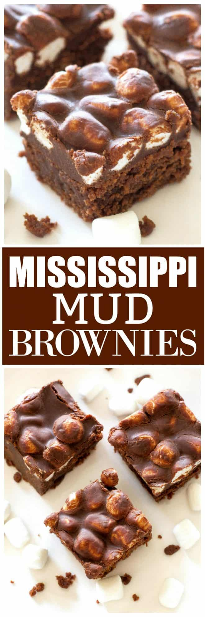 There are lots of recipes for Mississippi Mud Brownies out there but this one is perfection. Moist brownies topped with marshmallows and a rich chocolate ganache. #chocolate #mississippi #mud #brownies #dessert #recipe