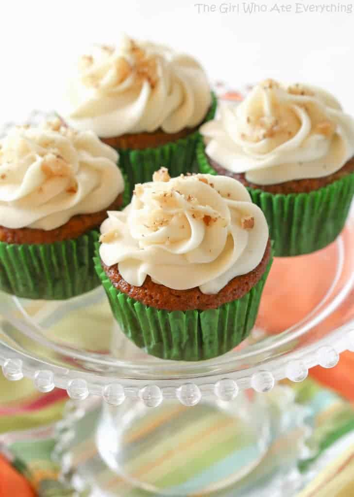 Carrot Cupcakes with White Chocolate Cream Cheese Frosting - The Girl ...