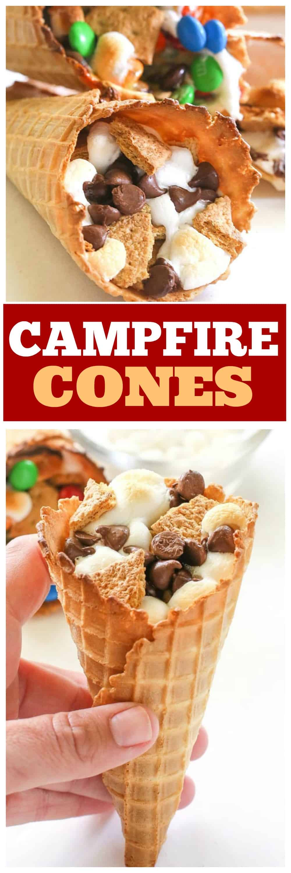 Campfire Cones - If you don't want to deal with someone poking their eye out, make your s'mores in a waffle cone, wrap it in foil, and toss it in the campfire until melted! #campfirecones #smores #dessert