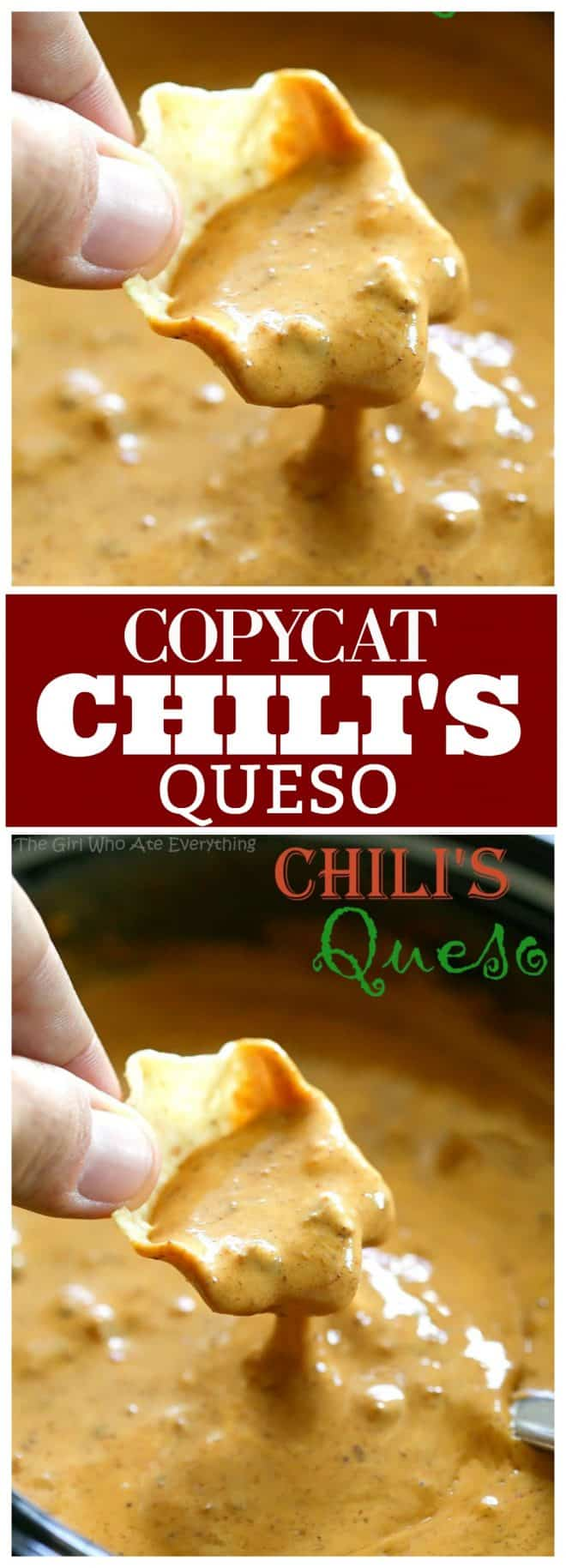 This is a copycat version of Chili's Queso Dip which is one of my family's favorites. Throw this Chili's Queso Dip together in the slow cooker or heat on the stove, either way it's a quick crowd pleasing appetizer. the-girl-who-ate-everything.com