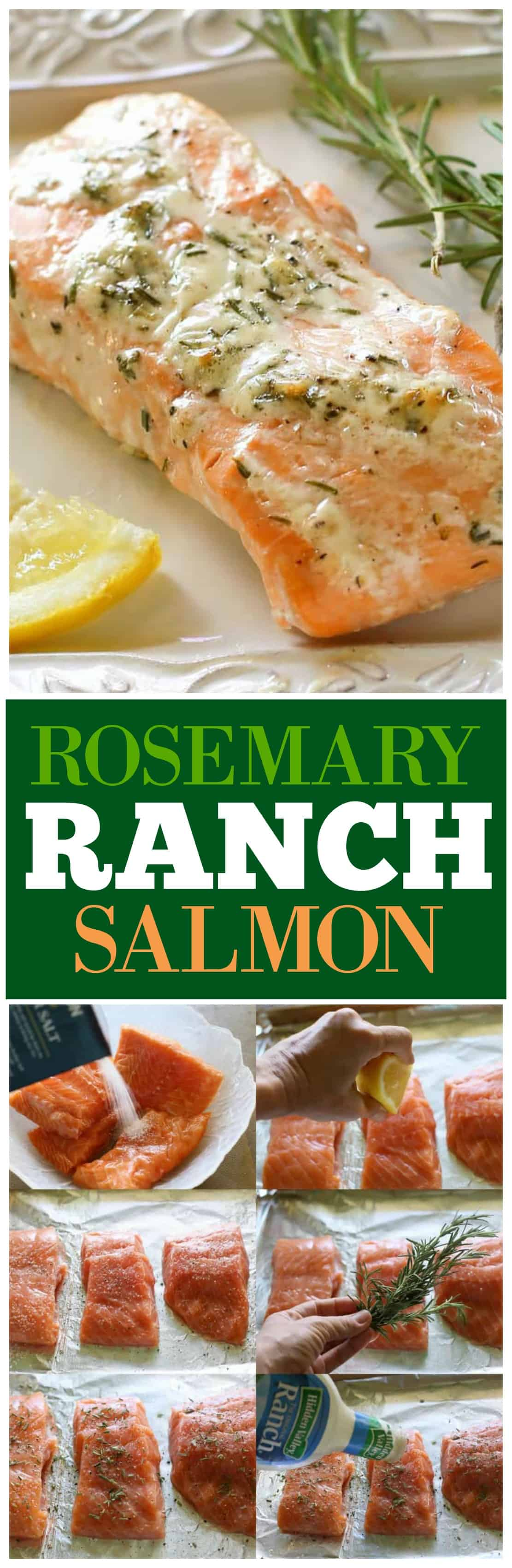 This Rosemary Ranch Salmon is delicious! The combo of the flavors creates a tender and savory sauce that is out of this world. If you're looking for a baked salmon recipe, this one is so easy and so delicious! #healthy #seafood #dinner #rosemary #salmon #recipe