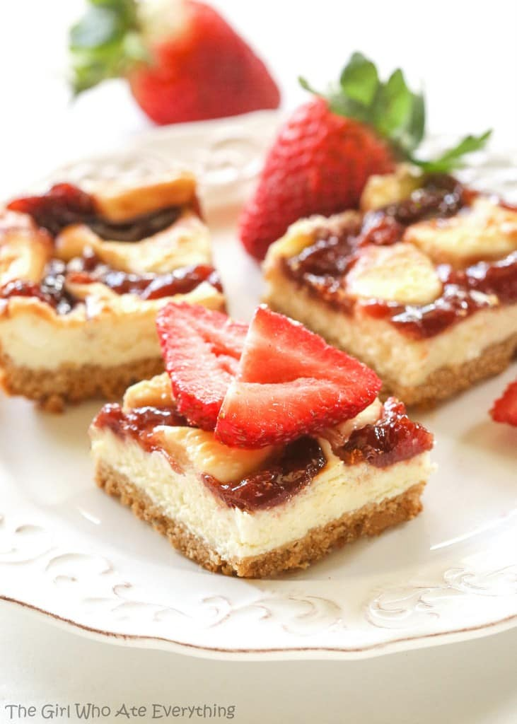 These Strawberry Cheesecake Bars are an easy treat to make! This creamy cheesecake with a graham cracker crust and strawberries is a great combination.