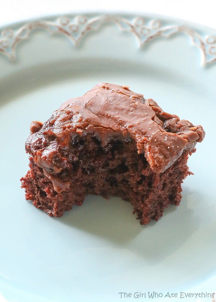Chocolate Cherry Bars - so easy and a great potluck dessert. the-girl-who-ate-everything.com