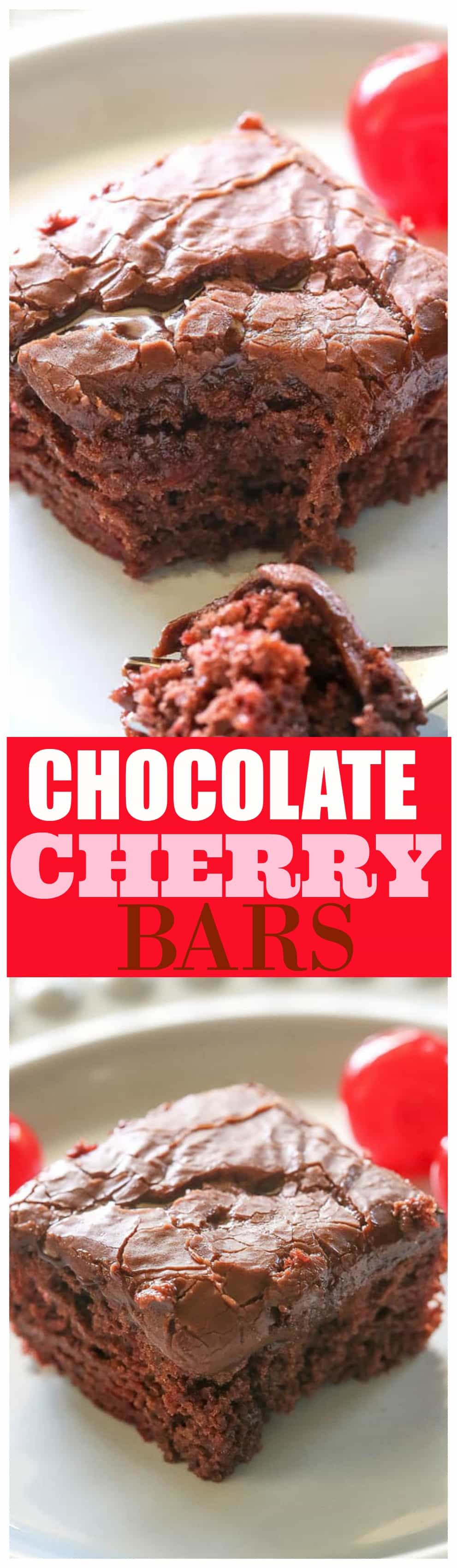 Chocolate Cherry Bars - so easy and a great potluck dessert. #chocolate #cherry #bars #dessert #recipe