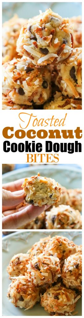 Toasted Coconut Cookie Dough Bites - these are delicious and super easy! the-girl-who-ate-everything.com