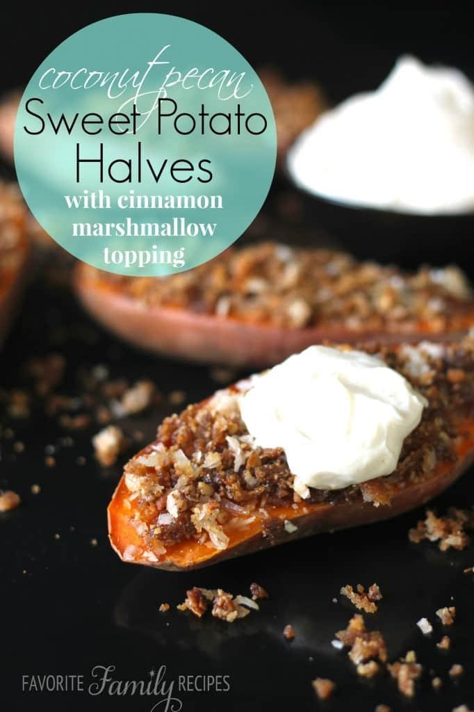 Coconut Pecan Sweet Potato Halves