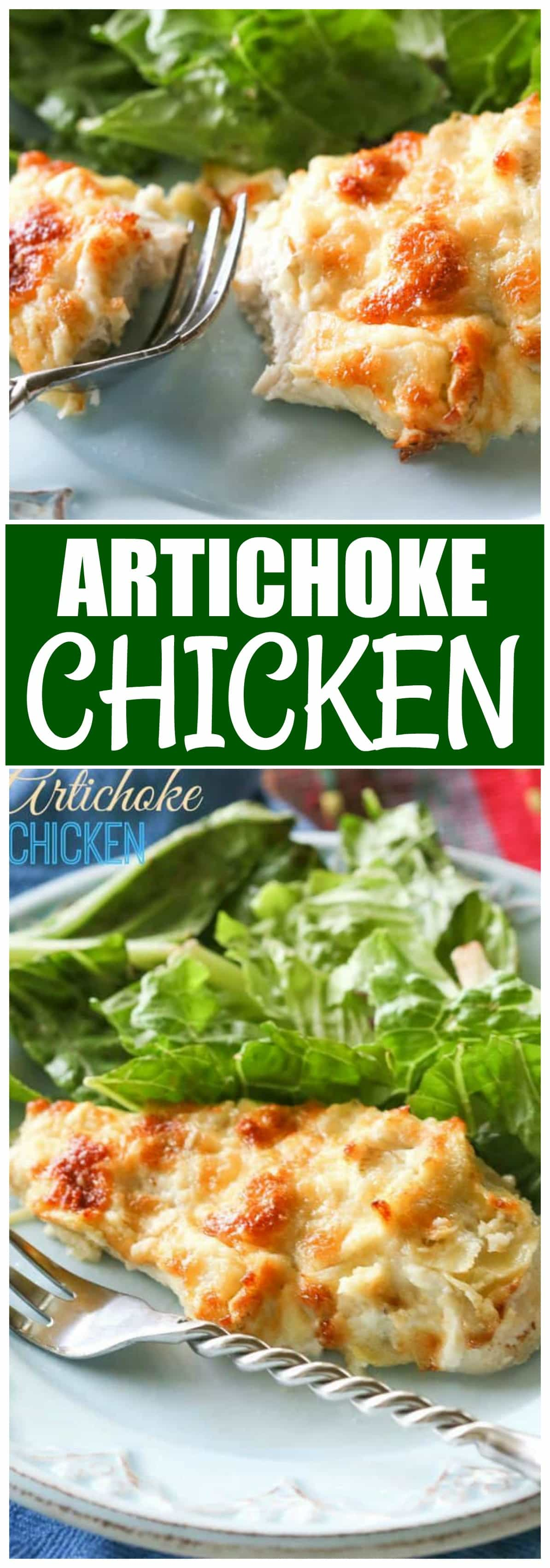 This Artichoke Chicken is a simple and easy meal that is delicious! It tastes like artichoke dip on top of chicken. #artichoke #chicken #dinner #easy #recipe