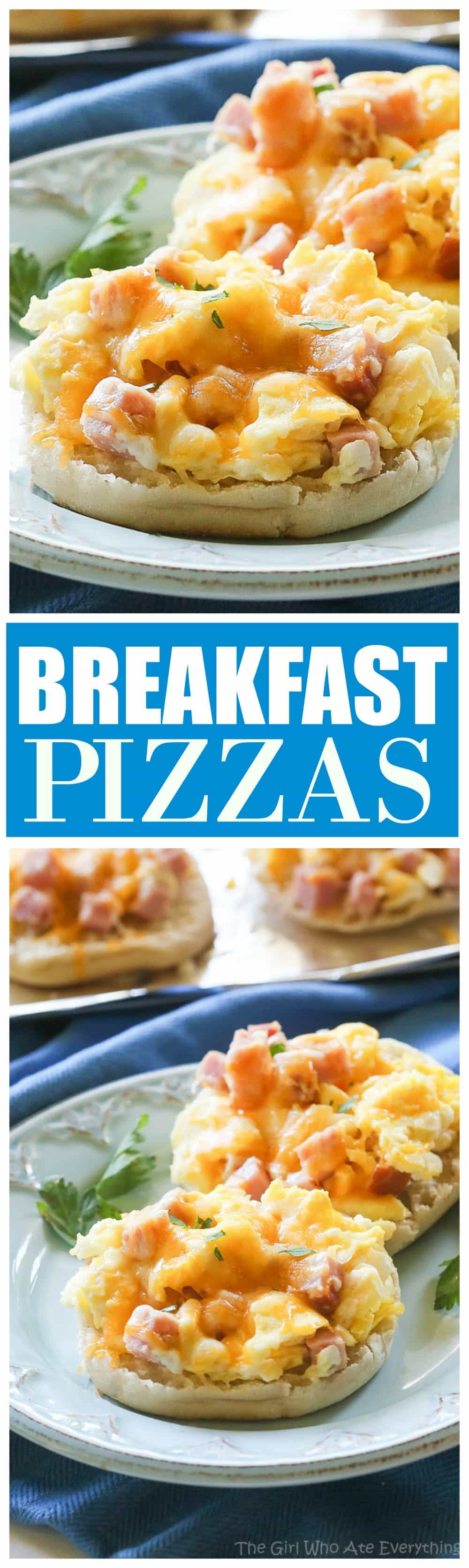 Breakfast Pizzas - scrambled eggs piled on English muffins and even freezer friendly. the-girl-who-ate-everything.com