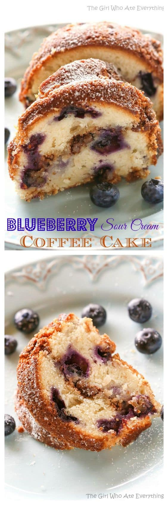 Blueberry Sour Cream Coffee Cake - a dense and delicious breakfast cake! the-girl-who-ate-everything.com
