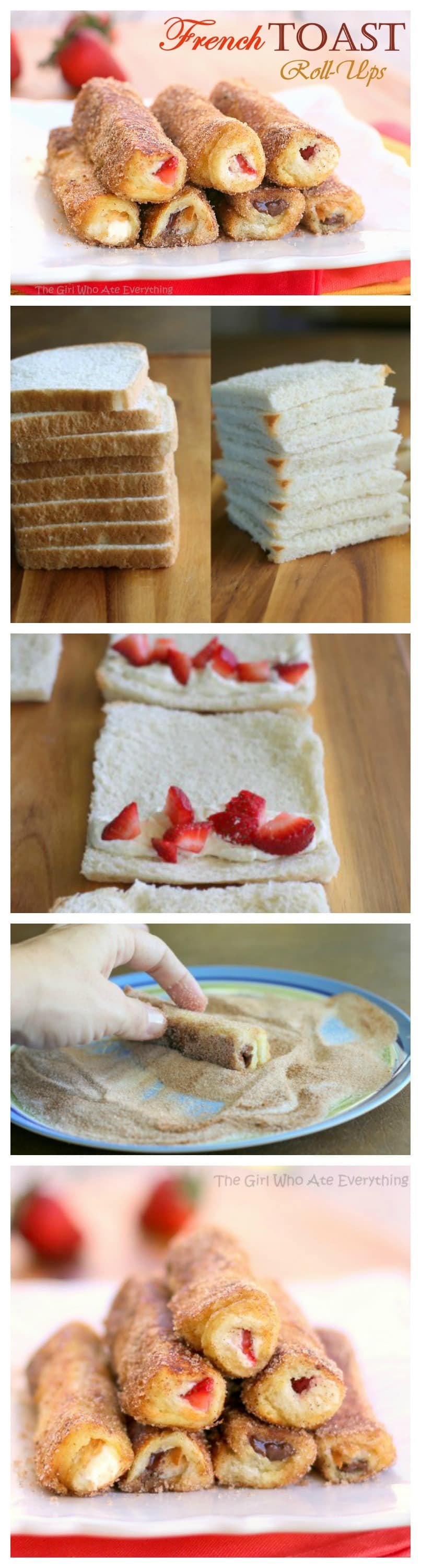 French Toast Roll-Ups - cream cheese, fruit, or whatever fillings you ...