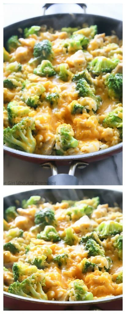 One-Pan Cheesy Chicken, Broccoli, and Rice - an easy dinner that the ...