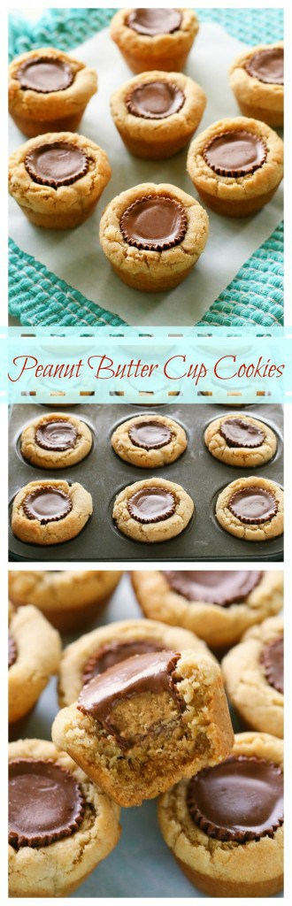 Peanut Butter Cup Cookies - a fool proof recipe that is always a hit. #peanutbutter #cup #cookie #dessert #christmas #plates
