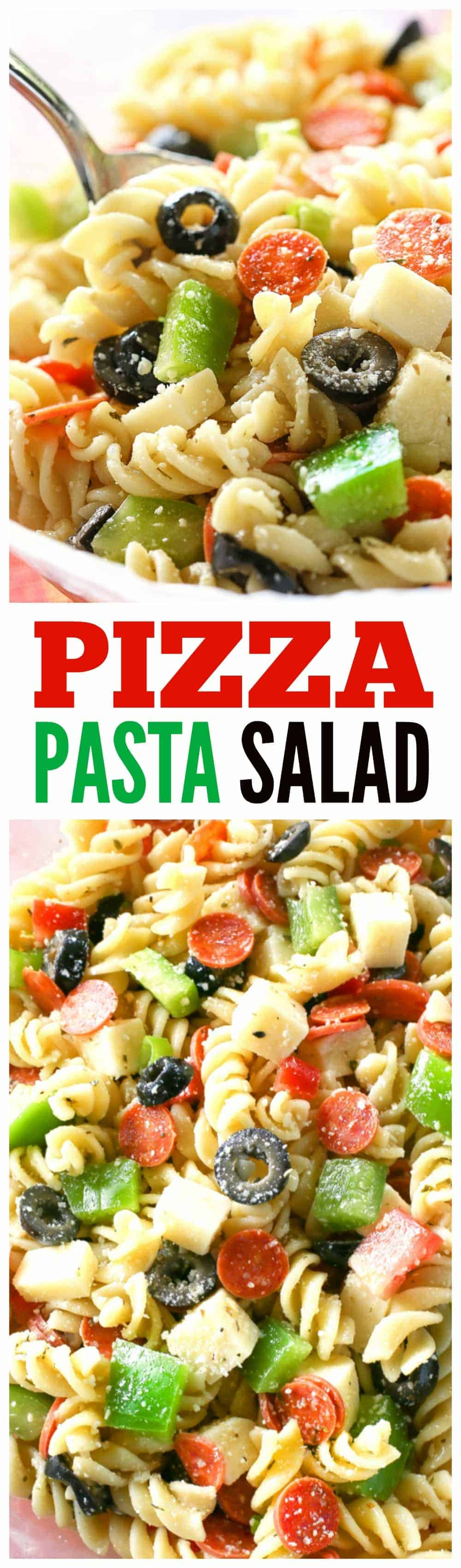 Pizza Pasta Salad has all the flavors of a delicious pizza in a pasta salad. Mini pepperonis, olives, green bell pepper, cubes of cheese, tomato - all tossed in a vinaigrette. A potluck favorite! #pizza #pasta #salad #potluck #bbq #sidedish