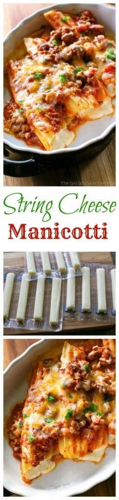 String Cheese Manicotti - Easy to stuff manicotti by using string cheese. Weeknight meals don't get easier than this. #string #cheese #manicotti