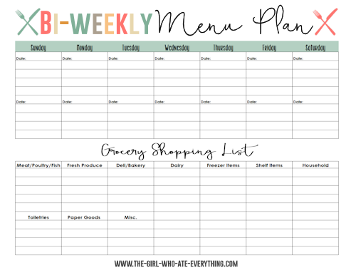 Menu plans and shopping list printables the girl who ate for Two week meal plan template