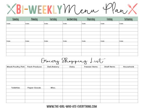 weekly menu plan printable. Same idea as the bi-weekly planner ...