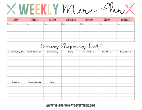weekly meal planner with grocery list template