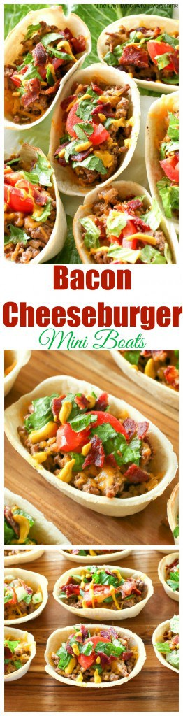 These Bacon Cheeseburger Mini Boats take your regular taco up a notch! Beef, bacon, cheese, and all your favorite burger toppings in one taco. #bacon #cheeseburger #tacos #mexican #recipe