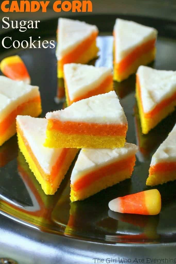 Candy Corn Sugar Cookies - they don't taste like candy corns but look like the cute treat! the-girl-who-ate-everything.com