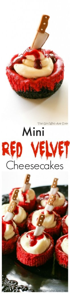 Mini Red Velvet Cheesecakes - moist red velvet cheesecake with an Oreo crust. Topped with cream cheese for the ultimate indulgence. Add some edible blood for a dramatic Halloween dessert. the-girl-who-ate-everything.com