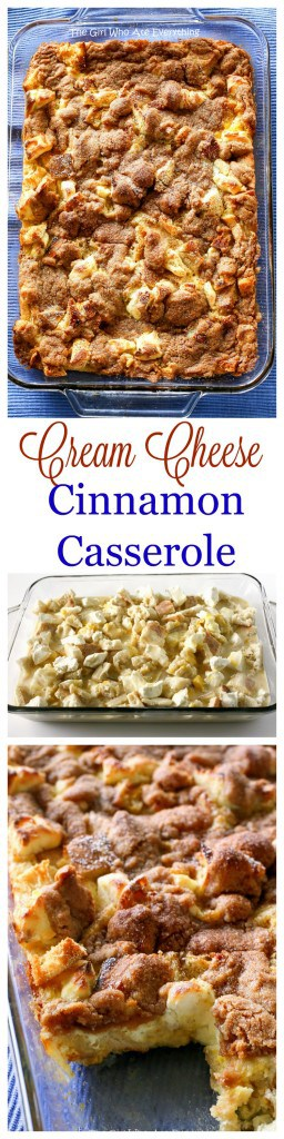 This Cinnamon Cream Cheese Casserole is warm and cozy. The perfect recipe for entertaining! It can be made ahead of time and popped in the oven. #breakfast #bake #recipe #creamcheese