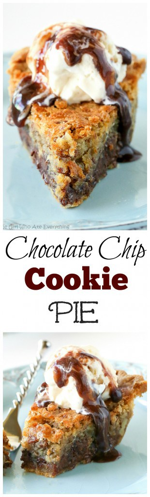 Chocolate Chip Pie - one of our favorite pies ever. Basically a chocolate chip cookie in a pie. So good! #chocolate #chip #pie #cookie #dessert