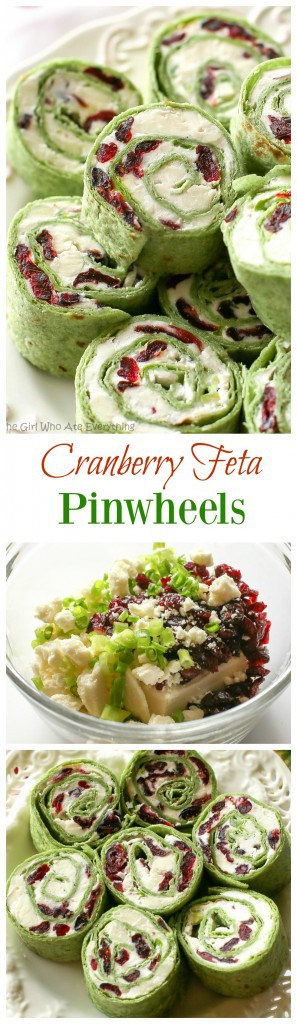 Cranberry Feta Pinwheels: a sweet and salty combo that's perfect for a Christmas appetizer. #cranberry #feta #appetizer #pinwheels #christmas
