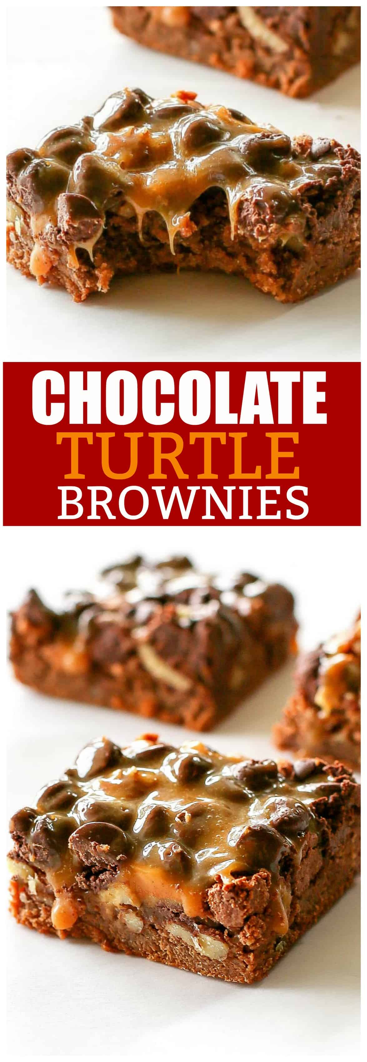 Chocolate Turtle Brownies are rich chocolate brownies with gooey caramel, nuts, and more chocolate. If you  need a dessert for a crowd, here you go!