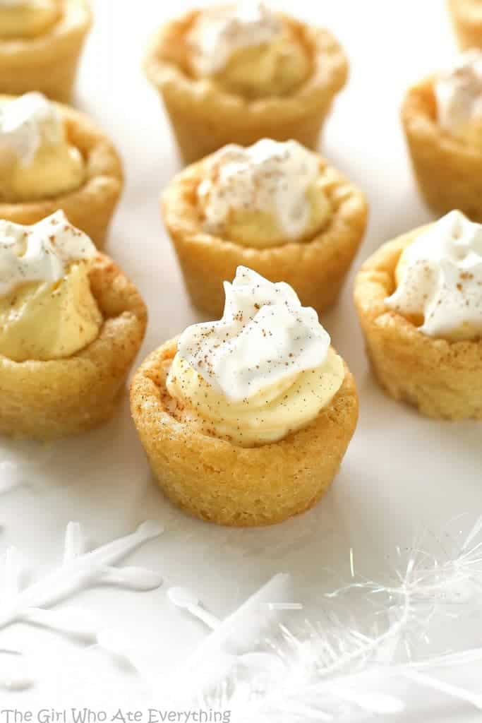 Eggnog Cookie Cups are sugar cookie cups filled with a creamy eggnog ...