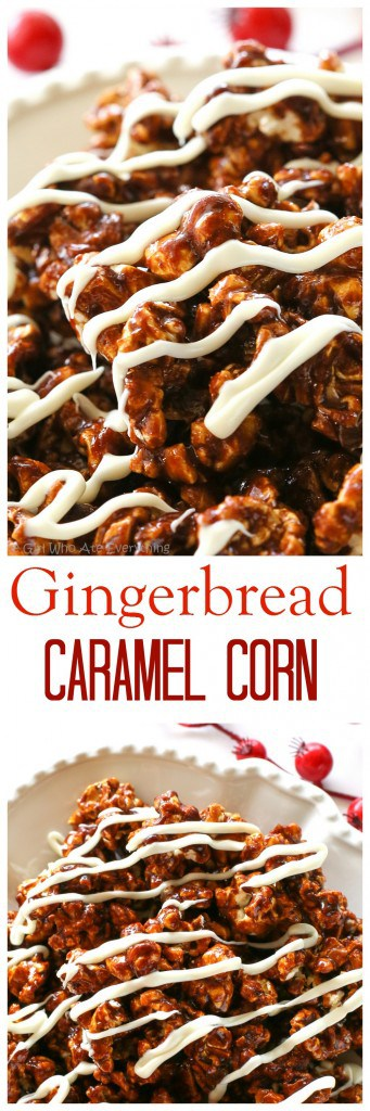 Gingerbread Caramel Popcorn - a crunchy popcorn with festive holiday flavors and drizzled with almond bark. A great neighbor gift for Christmas! the-girl-who-ate-everything.com