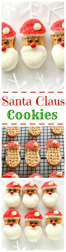 Santa Claus Cookies - easy Nutter Butter based cookies to make with your kids that are fancy enough to give to your friends. #christmas #cookies #santa #claus #recipe