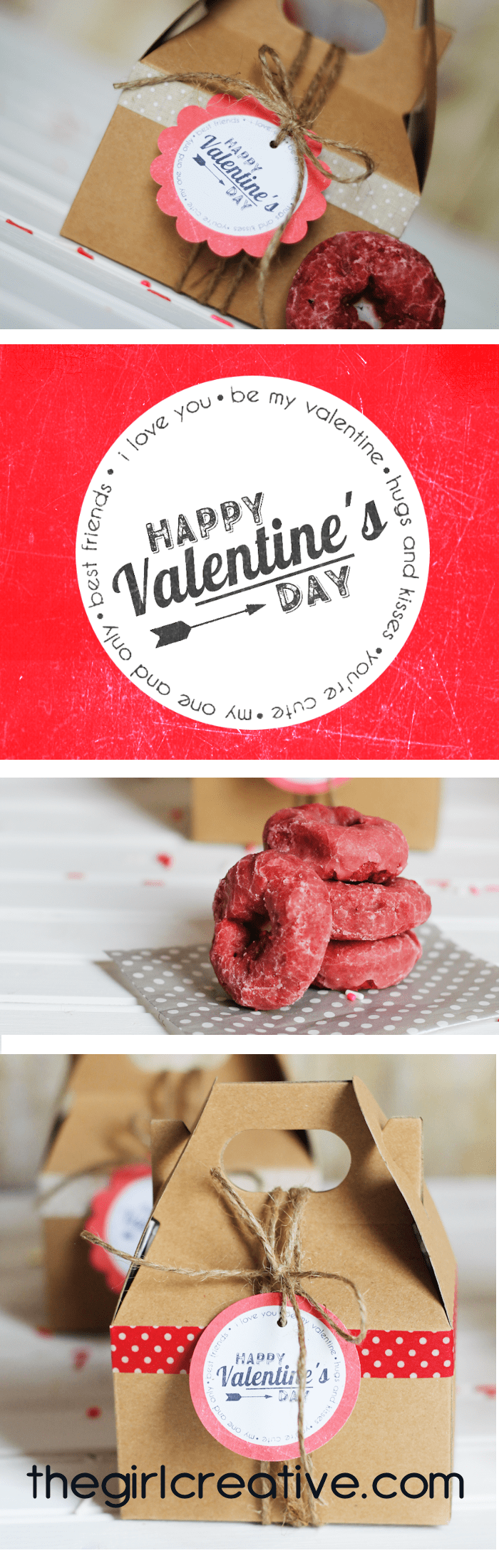 Valentine's Day Donuts with Printable Vintage Tags - This is the perfect take home treat for any Valentine's Day party - complete with printable Valentine's Day tags.