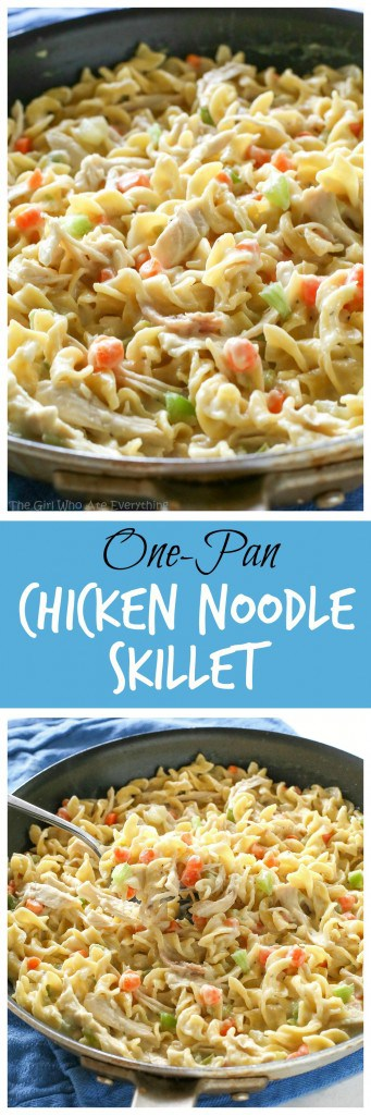 Creamy Chicken Noodle Skillet - dinner in under 20 minutes! #creamy #chicken #noodle #skillet #onepan #dinner