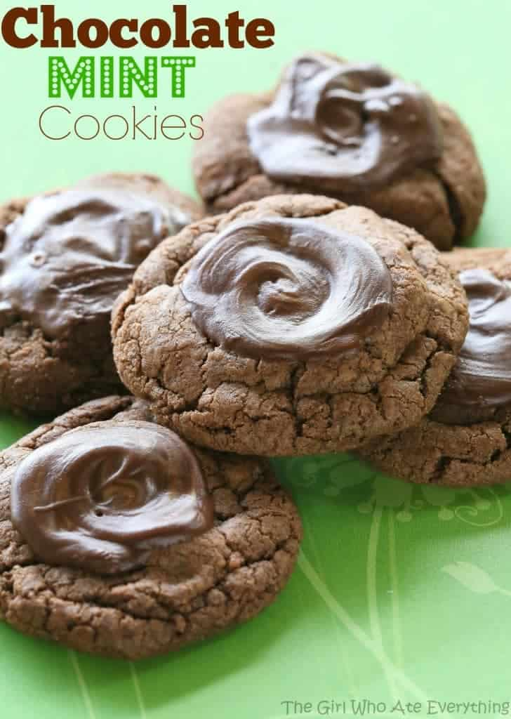 Chocolate Mint Cookies - tastes like a thin mint girl scout cookie. This one's a keeper. the-girl-who-ate-everything.com