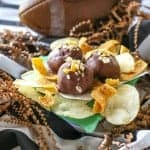 Loaded Peanut Butter Chip Balls - Fritos and Lays crushed up with peanut butter and dipped in chocolate. the-girl-who-ate-everything.com
