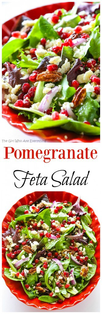 Pomegranate Feta Salad - this quick and easy salad is topped with a ...